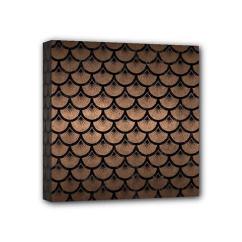 Scales3 Black Marble & Bronze Metal (r) Mini Canvas 4  X 4  (stretched) by trendistuff