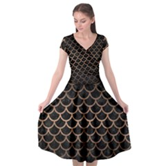 Scales1 Black Marble & Bronze Metal Cap Sleeve Wrap Front Dress