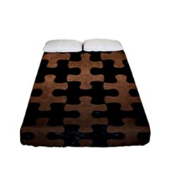 Puzzle1 Black Marble & Bronze Metal Fitted Sheet (full/ Double Size) by trendistuff