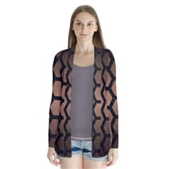 Hexagon2 Black Marble & Bronze Metal (r) Drape Collar Cardigan by trendistuff