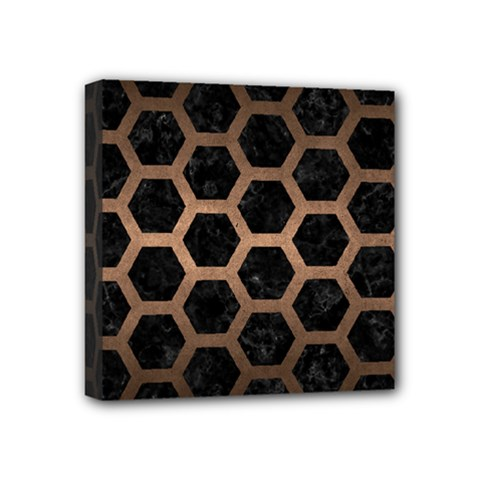 Hexagon2 Black Marble & Bronze Metal Mini Canvas 4  X 4  (stretched)