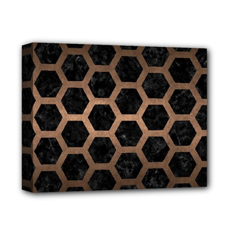 Hexagon2 Black Marble & Bronze Metal Deluxe Canvas 14  X 11  (stretched) by trendistuff