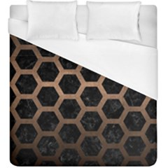 Hexagon2 Black Marble & Bronze Metal Duvet Cover (king Size) by trendistuff