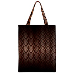 Hexagon1 Black Marble & Bronze Metal (r) Zipper Classic Tote Bag by trendistuff