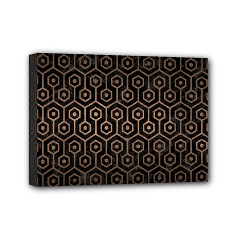 Hexagon1 Black Marble & Bronze Metal Mini Canvas 7  X 5  (stretched) by trendistuff