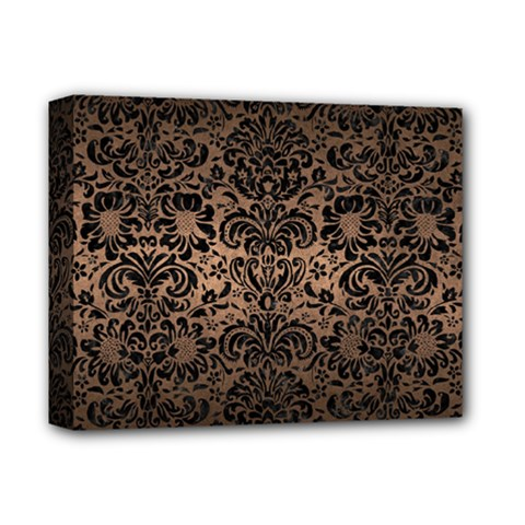 Damask2 Black Marble & Bronze Metal (r) Deluxe Canvas 14  X 11  (stretched) by trendistuff