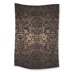 Damask2 Black Marble & Bronze Metal (r) Large Tapestry by trendistuff