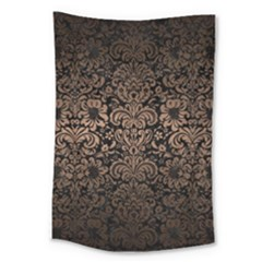 Damask2 Black Marble & Bronze Metal Large Tapestry