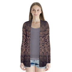 Damask1 Black Marble & Bronze Metal (r) Drape Collar Cardigan by trendistuff
