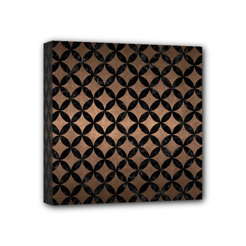 Circles3 Black Marble & Bronze Metal (r) Mini Canvas 4  X 4  (stretched) by trendistuff