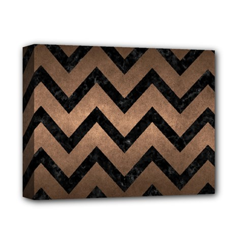 Chevron9 Black Marble & Bronze Metal (r) Deluxe Canvas 14  X 11  (stretched) by trendistuff