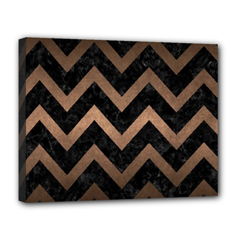 Chevron9 Black Marble & Bronze Metal Canvas 14  X 11  (stretched) by trendistuff