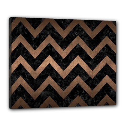Chevron9 Black Marble & Bronze Metal Canvas 20  X 16  (stretched) by trendistuff