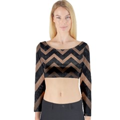 Chevron9 Black Marble & Bronze Metal Long Sleeve Crop Top (tight Fit) by trendistuff