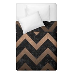Chevron9 Black Marble & Bronze Metal Duvet Cover Double Side (single Size) by trendistuff