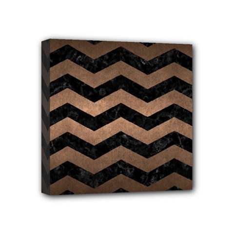 Chevron3 Black Marble & Bronze Metal Mini Canvas 4  X 4  (stretched)