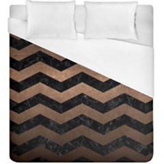 Chevron3 Black Marble & Bronze Metal Duvet Cover (king Size) by trendistuff