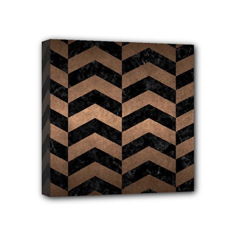 Chevron2 Black Marble & Bronze Metal Mini Canvas 4  X 4  (stretched)