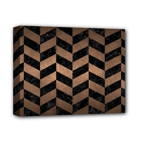 Chevron1 Black Marble & Bronze Metal Deluxe Canvas 14  X 11  (stretched) by trendistuff