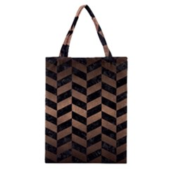 Chevron1 Black Marble & Bronze Metal Classic Tote Bag by trendistuff