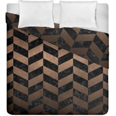 Chevron1 Black Marble & Bronze Metal Duvet Cover Double Side (king Size) by trendistuff