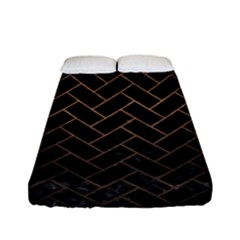 Brick2 Black Marble & Bronze Metal Fitted Sheet (full/ Double Size) by trendistuff
