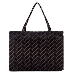 Brick2 Black Marble & Bronze Metal Medium Zipper Tote Bag by trendistuff