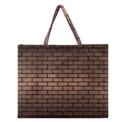Brick1 Black Marble & Bronze Metal (r) Zipper Large Tote Bag by trendistuff
