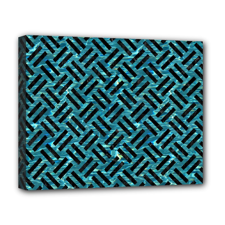 WOVEN2 BLACK MARBLE & BLUE-GREEN WATER (R) Deluxe Canvas 20  x 16  (Stretched)