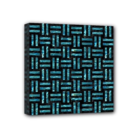 Woven1 Black Marble & Blue Green Water Mini Canvas 4  X 4  (stretched) by trendistuff