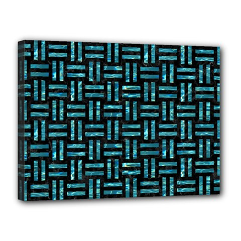 Woven1 Black Marble & Blue Green Water Canvas 16  X 12  (stretched) by trendistuff