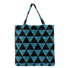 Triangle3 Black Marble & Blue Green Water Grocery Tote Bag by trendistuff