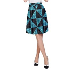 Triangle1 Black Marble & Blue Green Water A Line Skirt by trendistuff