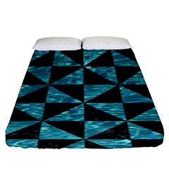 Triangle1 Black Marble & Blue Green Water Fitted Sheet (king Size) by trendistuff