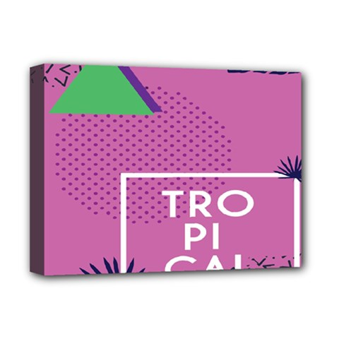 Behance Feelings Beauty Polka Dots Leaf Triangle Tropical Pink Deluxe Canvas 16  X 12
