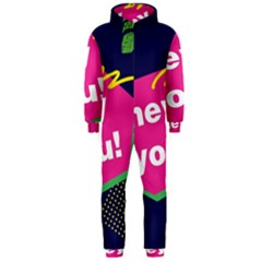 Behance Feelings Beauty Hey You Leaf Polka Dots Pink Blue Hooded Jumpsuit (men)  by Mariart