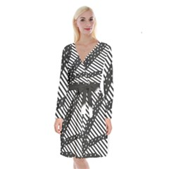 Ambiguous Stripes Line Polka Dots Black Long Sleeve Velvet Front Wrap Dress by Mariart