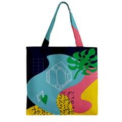 Behance Feelings Beauty Waves Blue Yellow Pink Green Leaf Zipper Grocery Tote Bag by Mariart
