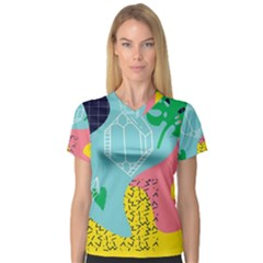 Behance Feelings Beauty Waves Blue Yellow Pink Green Leaf Women s V Neck Sport Mesh Tee by Mariart