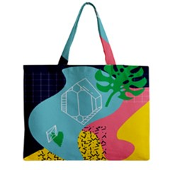 Behance Feelings Beauty Waves Blue Yellow Pink Green Leaf Medium Zipper Tote Bag by Mariart