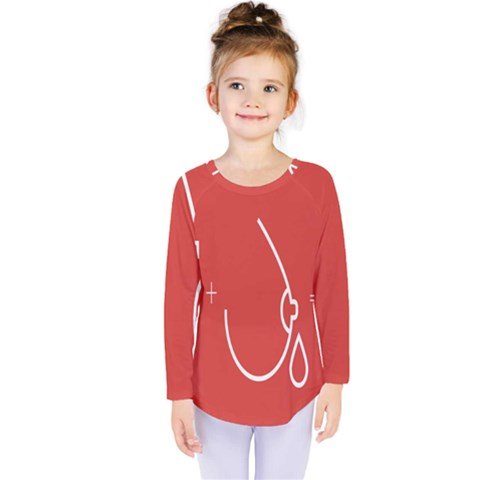 Caffeine And Breastfeeding Coffee Nursing Red Sign Kids  Long Sleeve Tee by Mariart