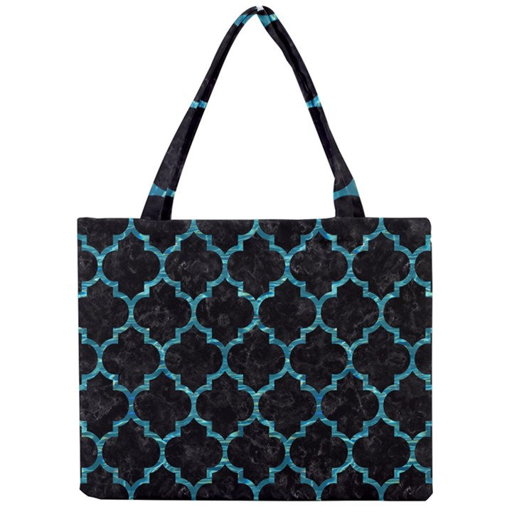 TILE1 BLACK MARBLE & BLUE-GREEN WATER Mini Tote Bag