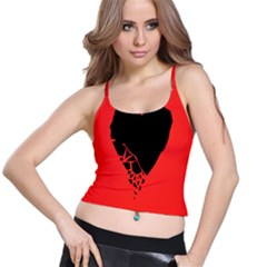 Broken Heart Tease Black Red Spaghetti Strap Bra Top