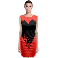 Broken Heart Tease Black Red Classic Sleeveless Midi Dress by Mariart
