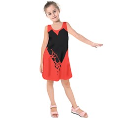 Broken Heart Tease Black Red Kids  Sleeveless Dress by Mariart
