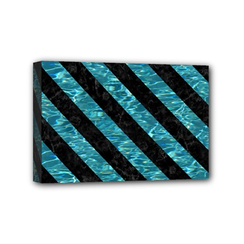 Stripes3 Black Marble & Blue Green Water (r) Mini Canvas 6  X 4  (stretched) by trendistuff