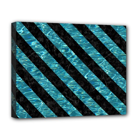 Stripes3 Black Marble & Blue Green Water (r) Deluxe Canvas 20  X 16  (stretched)