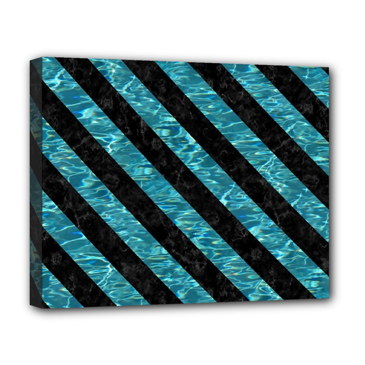 STRIPES3 BLACK MARBLE & BLUE-GREEN WATER (R) Deluxe Canvas 20  x 16  (Stretched)