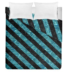 Stripes3 Black Marble & Blue Green Water (r) Duvet Cover Double Side (queen Size) by trendistuff