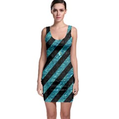 Stripes3 Black Marble & Blue Green Water Bodycon Dress